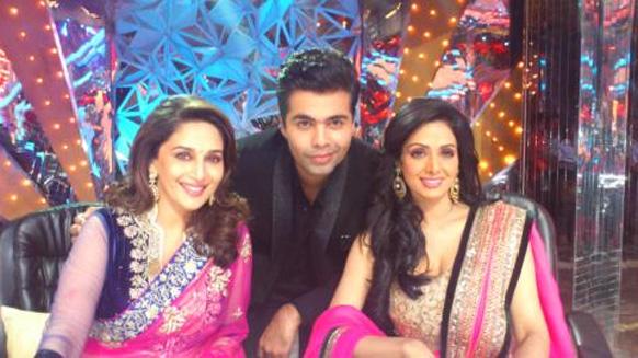 करन जोहर ने श्रीदेवी और माधुरी दीक्षित के साथ झलक दिखला जा के सेट पर ली गई तस्वीर ट्विटर पर पोस्ट की।