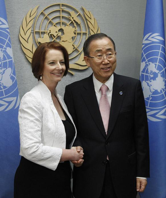 संयुक्त राष्ट्र के महासचिव बानकी मून और ऑस्ट्रेलिया की प्रधानमंत्री जूलिया गिलार्ड।