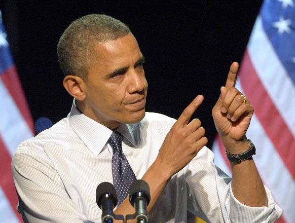 अमेरिका के लॉस एंजिल्स में चुनावी प्रचार के दौरान अमेरिकी राष्ट्रपति बराक ओबामा।