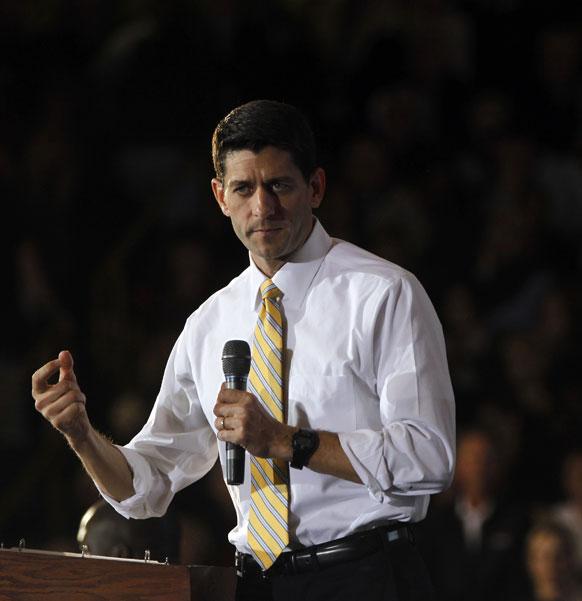मिच में उप राष्ट्रपति पद के लिए चुनाव प्रचार करते रिपब्लिकन पार्टी के उम्मीदवार पाल रेयान।