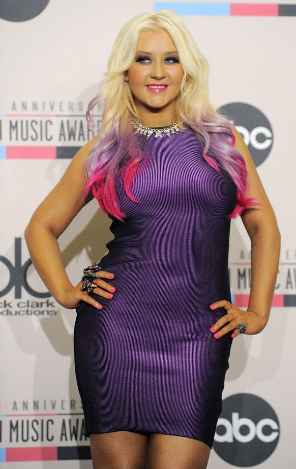 लॉस एंजिल्स में अमेरिकन म्यूजिक अवॉर्ड 2012 के दौरान सिंगर क्रिस्टीना ऑगलेरिया।
