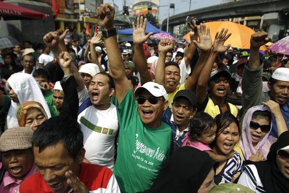 मनीला में प्रदर्शनकारियों का विरोध-प्रदर्शन