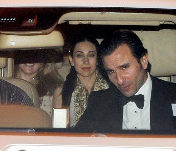 सैफ-करीना की शादी के बाद सैफ द्वारा आयोजित डिनर पार्टी में शिकरत करने पहुंचे सैफ रिश्तेदार और करीना की बहन करिश्मा कपूर।