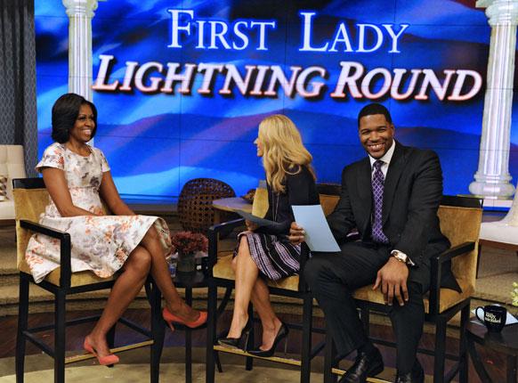न्यूयार्क के एक कार्यक्रम में अमेरिकी की प्रथम महिला मिशेल ओबामा।
