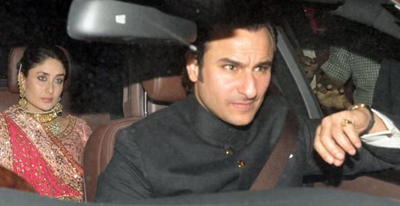 नव दंपति को रास्ता दे दें- नवाब सैफ अली खान अपनी बेगम करीना कपूर के साथ वलीमा के मौके पर पहुंचते हुए।