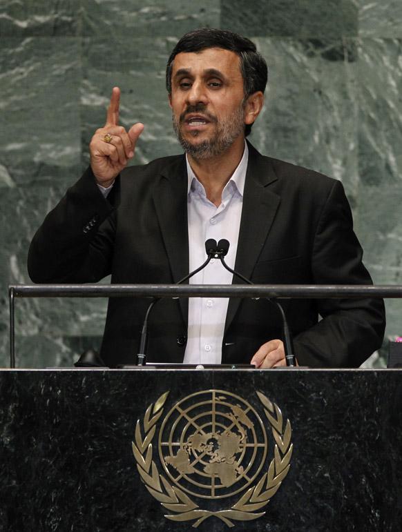 संयुक्त राष्ट्र मुख्यालय में संयुक्त राष्ट्र के 67वें सत्र को सम्बोधित करते ईरान के राष्ट्रपति महमूद अहमदीनेजाद।