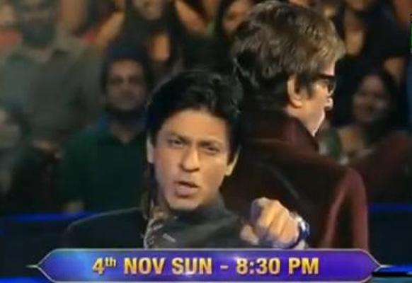 कौन बनेगा करोड़पति-6 के सेट पर अमिताभ बच्चन एवं शाहरुख खान।