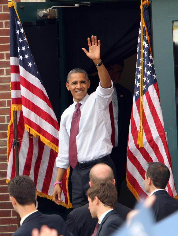 चुनाव प्रचार के दौरान यूएस राष्ट्रपति बराक ओबामा।