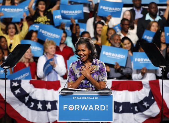 मियामी में बराक ओबामा के समर्थन में चुनाव प्रचार के दौरान अमेरिकी की प्रथम महिला मिशेल ओबामा।