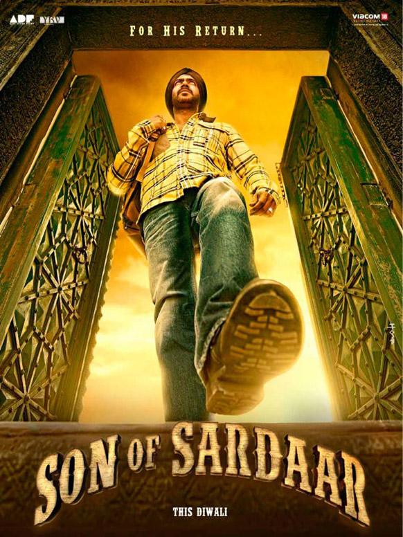 फिल्म सन ऑफ सरदार के एक पोस्टर में अभिनेता अजय देवगन।