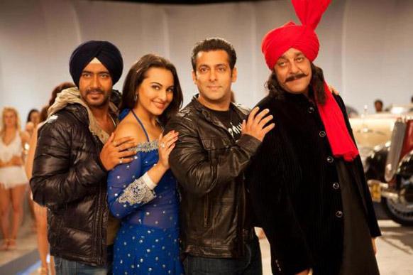 फिल्म सन ऑफ सरदार के एक चर्चित गाना 'पों पों' में अजय देवगन, सोनाक्षी, सलमान खान और संजय दत्त एक साथ नजर आए।