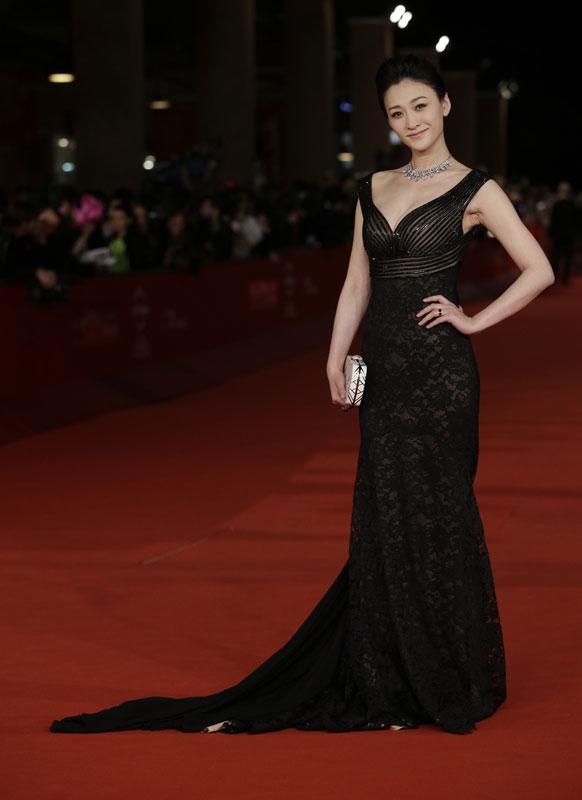 चीनी अदाकारा लि जियारान रोम इंटरनेशनल फिल्म फेस्टिवल के दौरान।