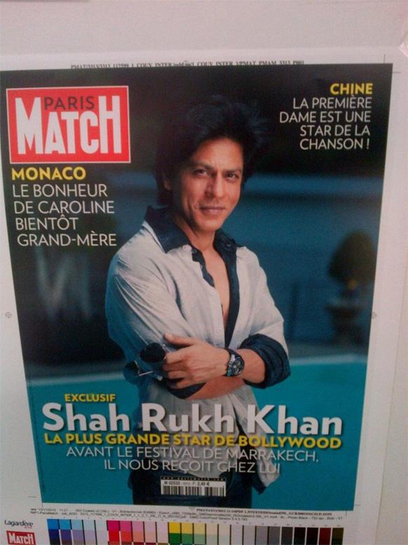 पेरिस मैच मैगजीन के कवर पेज पर शाहरूख खान।