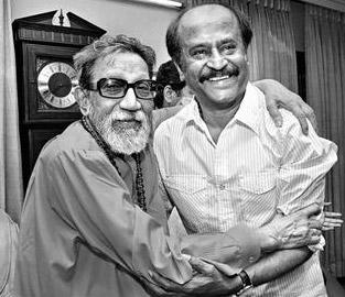 अभिनेता रजनीकांत के साथ बाल ठाकरे।