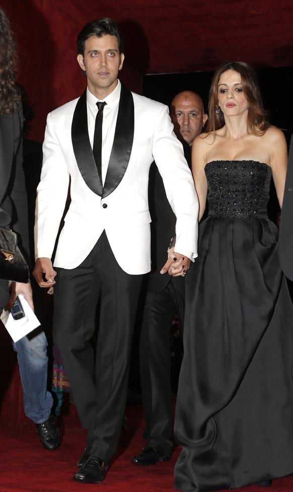 मराकेश इंटरनेशनल फिल्म फेस्टिवल में बॉलीवुड अभिनेता ऋतिक रोशन अपनी पत्नी सुजेन रोशन के साथ।