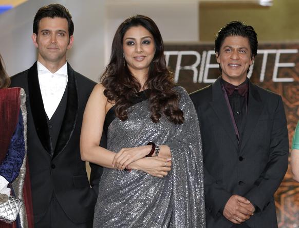 मराकेश इंटरनेशनल फिल्म फेस्टिवल में बॉलीवुड अभिनेता शाहरूख खान, ऋतिक रोशन और अभिनेत्री तब्बू।