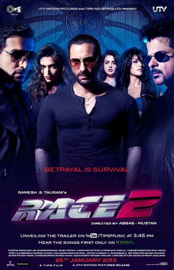 फिल्म रेस 2 में सैफ अली खान, अनिल कपूर, जॉन अब्राहम, दीपिका पादुकोण, जैकलीन फर्नांडीस और अमीषा पटेल विभिन्न्ा किरदारों में हैं।