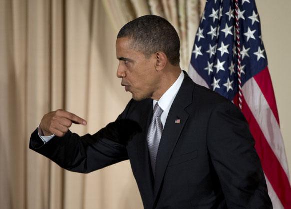 वाशिंगटन में प्रेस मीटिंग के दौरान अमेरिकी राष्ट्रपति बराक ओबामा।