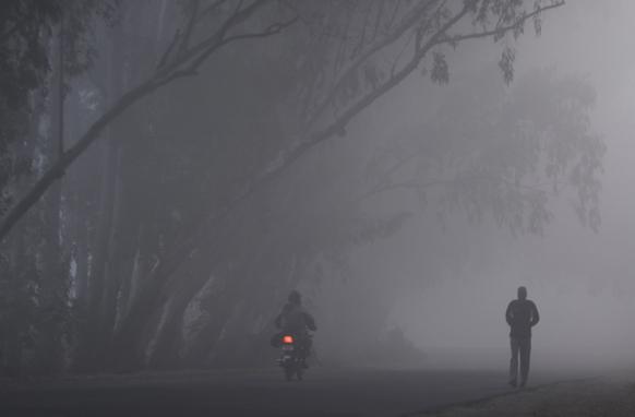 जम्मू में सुबह के वक्त कोहरा एवं धुंध।