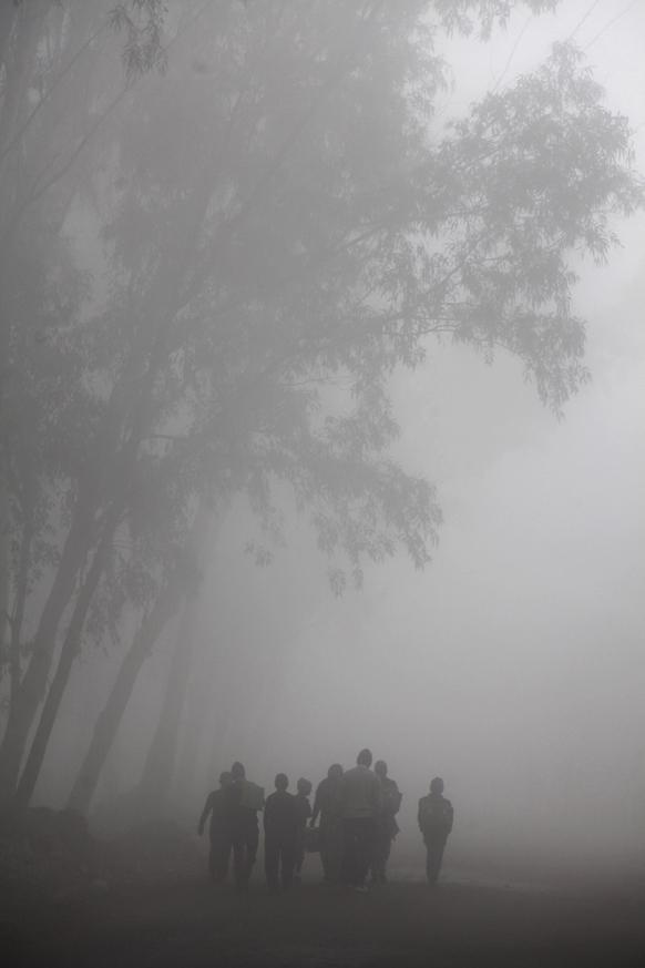 जम्मू में कोहरे की धुंध में स्कूल जाते बच्चे।