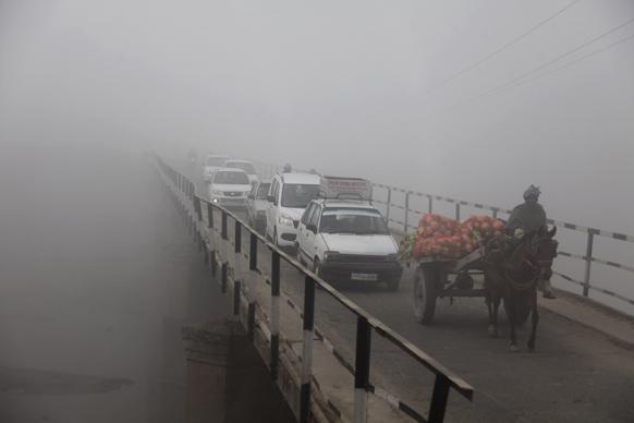 जम्मू में सब्जियां लेकर बैलगाड़ी से पुल को पार करता एक व्यक्ति। अत्यधिक कोहरा पड़ने की वजह से उत्तर भारत में यातायात व्यवस्था चरमरा गई है।