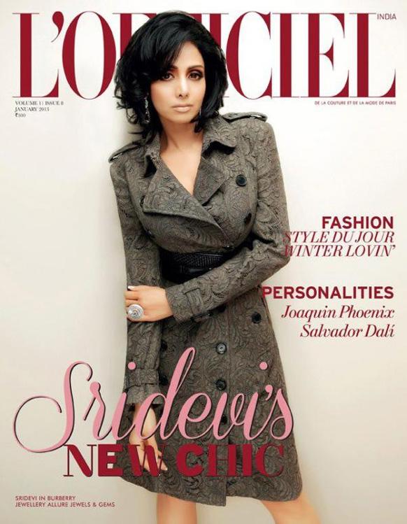 मैगजीन एल ऑफिसियल के जनवरी 2013 अंक के कवर पेज पर एक आकर्षक पोज में अभिनेत्री श्रीदेवी।