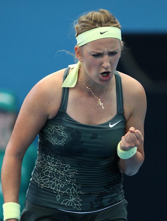 ब्रिसबेन इंटरनेशनल टेनिस टूर्नामेंट के क्वार्टर फाइनल मैच में जीत हासिल करने के बाद विक्टोरिया अजारेंका।