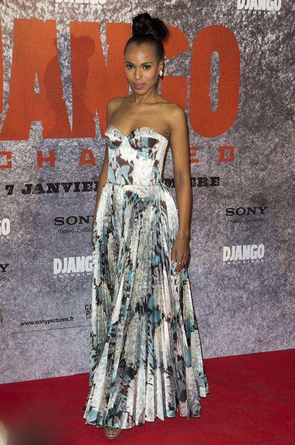 पेरिस में यूएस अभिनेत्री केरी वाशिंगटन फिल्म डजंगो अनचैंड के प्रीमियर में पहुंची।
