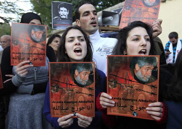लेबनाना में  जॉर्ज इब्राहिम अब्दुल्ला के समर्थन में लोग जो फिलहाल फ्रांस की जेल में है।