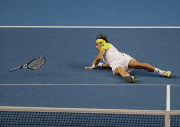 ऑस्ट्रेलियन ओपन टेनिस टूर्नामेंट 2013 के दौरान स्पेन के डेविड फेरर ।