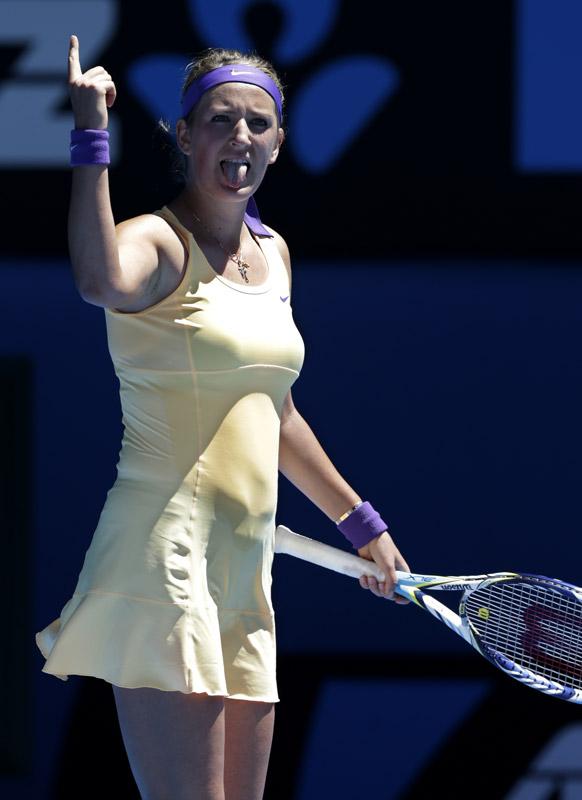 ऑस्ट्रेलियन ओपन टेनिस टूर्नामेंट 2013 के दौरान बेलारूक की विक्टोरिया अजरेंका ।