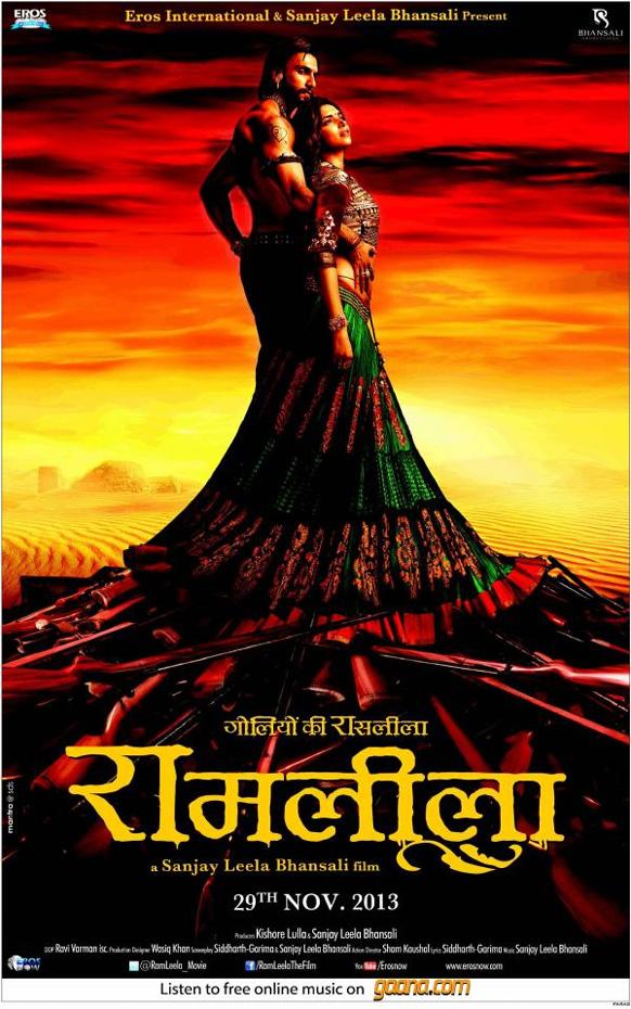 रणवीर सिंह व दीपिका पादुकोण की फिल्म 'राम लीला' की पहली पोस्टर। इस फिल्म का निर्देशन संजय लीला भंसाली कर रहे हैं और यह नवंबर 2013 में रिलीज होगी।