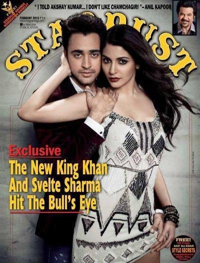 स्टार डस्ट मैगजीन के फरवरी 2013 अंक के कवर पेज पर अभिनेता इमरान खान और अनुष्का शर्मा।