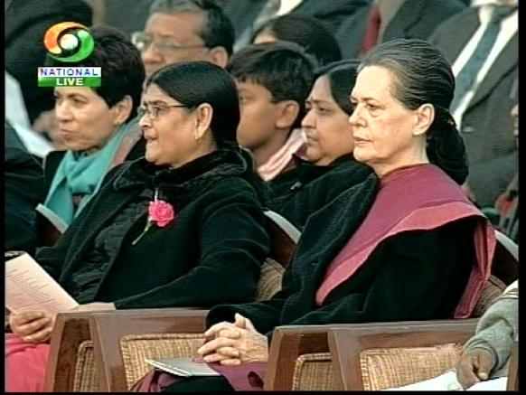 बीटिंग रिट्रीट के मौके पर कांग्रेस अध्यक्ष सोनिया गांधी।