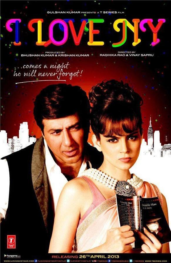 फिल्म 'आई लव NY' के पोस्टर पर सन्नी देओल एवं कंगना रानौत।