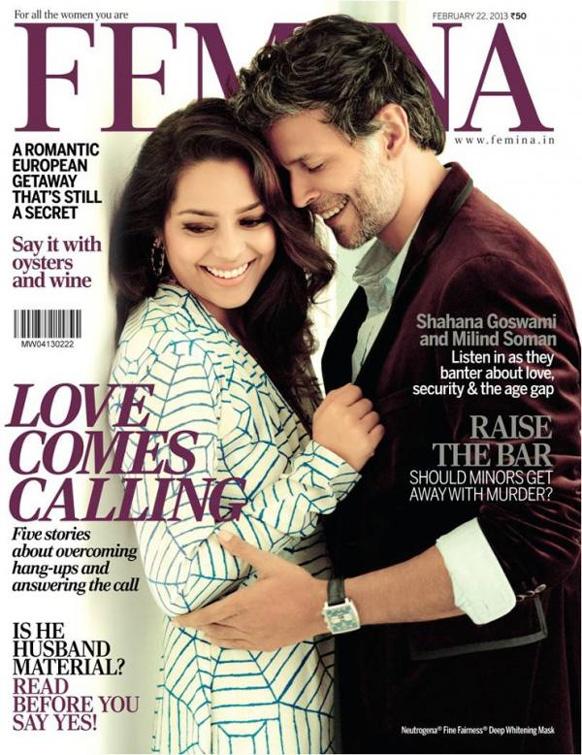 पत्रिका फेमिना इंडिया के फरवरी 2013 के अंक कवर पेज पर शाहाना गोस्वामी और मिलिंद सोमन।