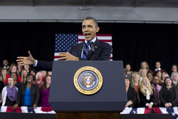 गा के डेकाटुर में डेकाटुर कम्यूनिटी रिक्रिएशन सेंटर में शिक्षा के बारे में अमेरिकी राष्ट्रपति बराक ओबामा ने लोगों को संबोधित किया।