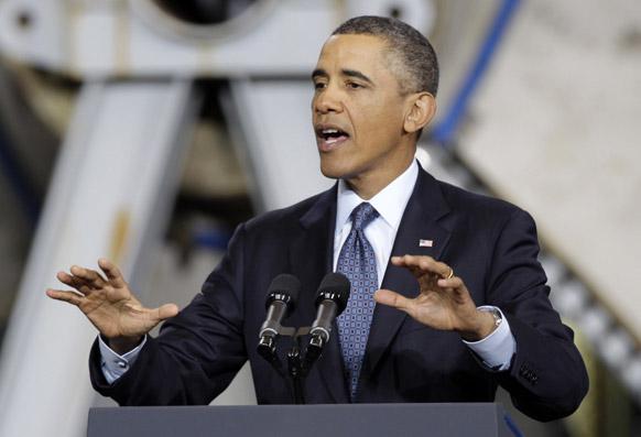 अमेरिका में एक कार्यक्रम के दौरान अमेरिकी राष्ट्रपति बराक ओबामा की स्पीच।