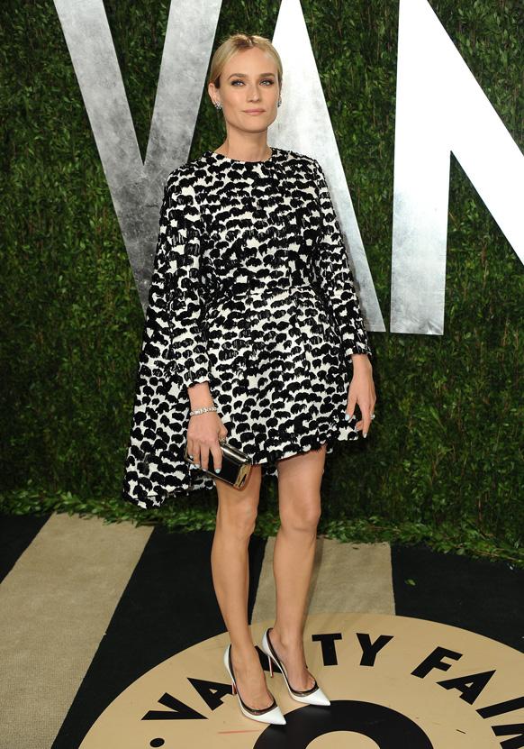 कैलिफोर्निया में वेनिटी फेयर ऑस्कर पार्टी 2013 में अभिनेत्री डियाना क्रूगर।