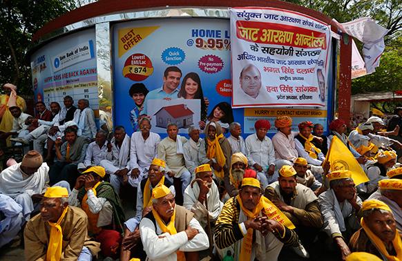 नई दिल्ली में संसद के सामने जाटों का प्रदर्शन।