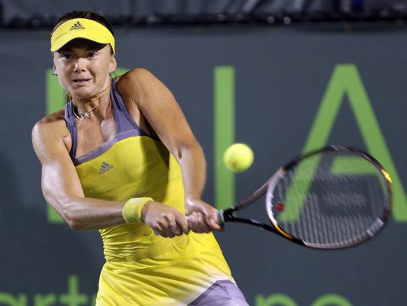 सोनी ओपन टेनिस टूर्नामेंट के दौरान स्लोवाकिया की डेनियल हंतुचोवा।