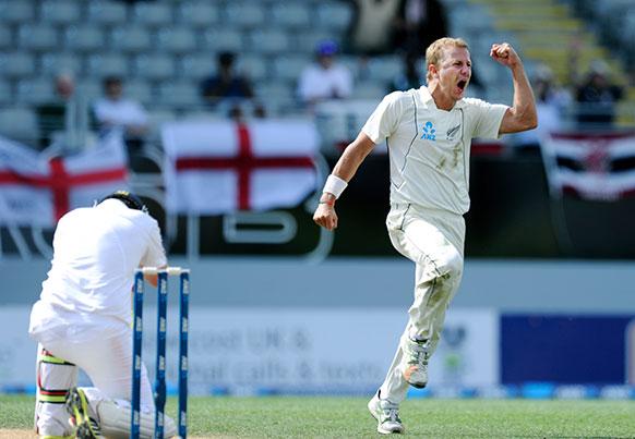 इंग्लैंड के खिलाफ टेस्ट मैच में न्यूजीलैंड के नेल विकेट लेने के बाद खुशी मनाते हुए।