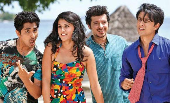 फिल्म चश्मे बद्दूर के एक सीन में अभिनेत्री तापसी पन्नू के साथ सिद्धार्थ, दिव्येंदु शर्मा और अली जाफर।