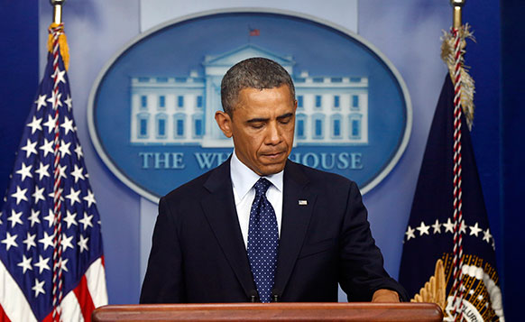 बोस्टन मैराथन के दौरान बम धमाकों के बाद राष्ट्रपति बराक ओबामा प्रेस वार्ता के दौरान मौन साधा।