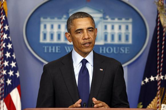 बोस्टन मैराथन विस्फोट के बारे में ह्वाइट हाउस में मीडिया को ब्रीफ करते राष्ट्रपति बराक ओबामा।