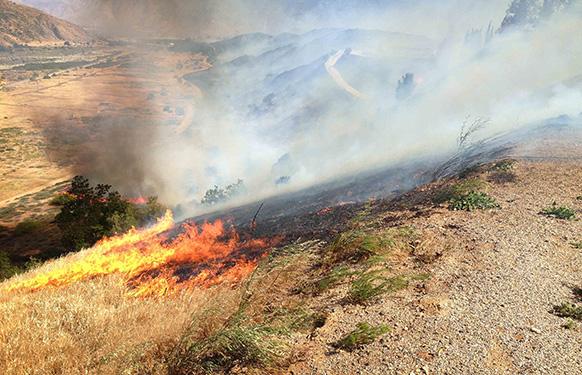 अमेरिका के कैलिफोर्निया में आग लगने के बाद बेनिंग के पहाड़ी क्षेत्र से उठता धुआं।