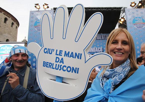 इटली में सिल्वियो बर्लुस्कोनी के समर्थक।