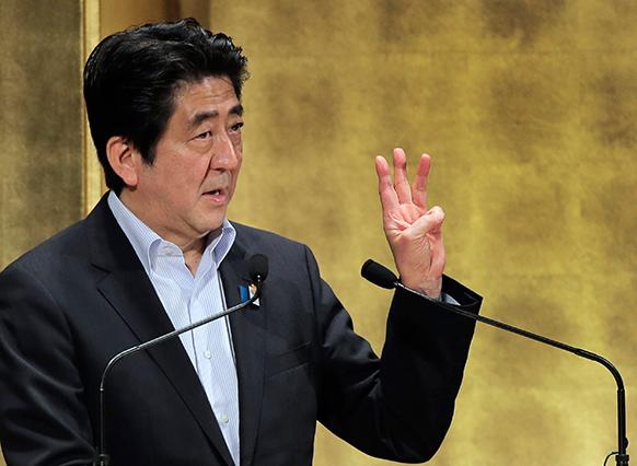 टोक्यो में जापान के प्रधानमंत्री शिंजो अबे।