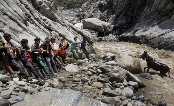 गौरीकुंड में मंदाकिनी नदी से एक खच्चर को निकालते लोग।