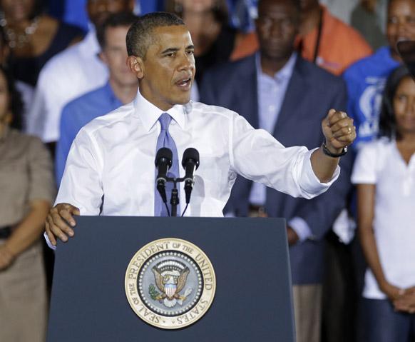 फ्ला में अर्थव्यवस्था के बारे में अपने विचार रखते अमेरिकी राष्ट्रपति बराक ओबामा।